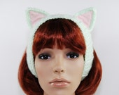 Crochet Lt.Green Cat Headband-Crochet-Sweet Lolita-Kawaii-Women accessories-Ear Warmers