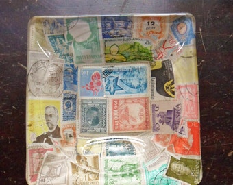 Postage Stamp Ashtray, Square Glass Stamp Ashtray, World-Wide Postage Stamps