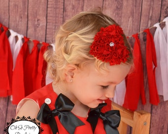 Red Heart Hair Clip - Red Hair Bow - Valentines Day Hair Clip - Valentines Day - Hair Bow - Toddler Child Teenager Adult Hair Clip