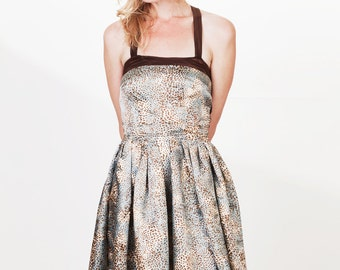 Satin Leopard Animal Print and Brown Detail Full Skirt Flouncy Cocktail Dress