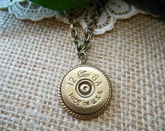 Flying Duck RARE ~ 12 Gauge ~ Vintage Shotgun Shell Jewelry ~ Shotgun Shell Casing ~ Mens Necklace ~ Made in USA