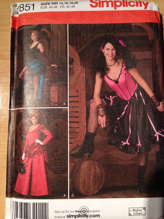 Simplicity Sewing Pattern 2852 Uncut Misses Burlesque Wild West Saloon Girl Bustle Dress Costume Size 14 - 20