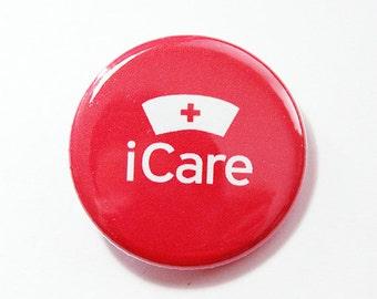 iCare, Pinback buttons, Lapel Pin, Nurse Pin, Pin for Nurse, Nurses week, Gift for Nurse, Red pin, iCare Pin, Nurse Badge (4312)