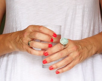 Cocktail ring, sea stone ring, statement ring, crochet ring, mint lace ring, one of a kind, ready to ship