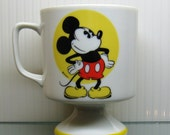 4 Vintage MICKEY MOUSE Disneyland Walt Disney World souvenir Porcelain Pedestal MUGS set of 4 Made in Japan