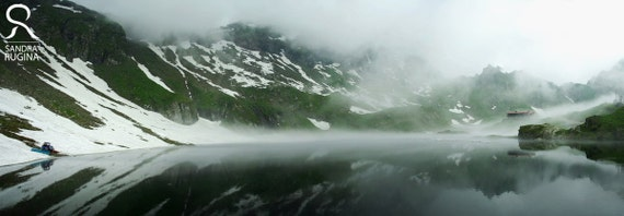 Panorama made out of two prints, foggy lake in mountains, high quality photo print you can put in two frames