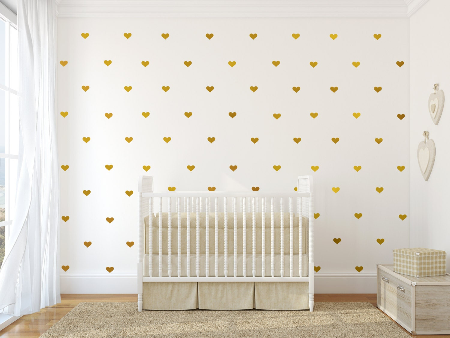 Wall decal wall sticker nursery art gold wall decals wall for Cute gold heart wall decals