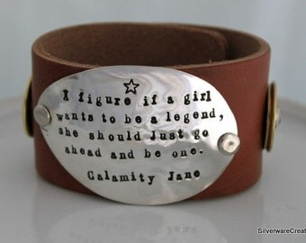 Spoon and Leather Bracelet w/ LEATHER & AMMO SILVERWARE Bracelet Hand Stamped 12 Gauge Ammo Bullet Bracelet Made To Order
