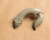 Fox Brooch Grey Rhinestone eyes Vintage pin