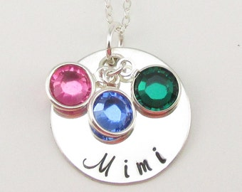 Sterling Silver Mimi Necklace Personalized Silver Jewelry Swarovski Birthstones Mothers Day gift for Mimi Grandma Mimi Oma or Gigi