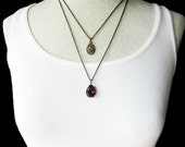 Purple Double Strand Necklace - Layered Bronze and Purple Gem Necklace