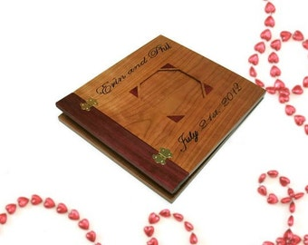 "Personalized Wood Scrapbook Album -Photo Album -12"" x 12"" Inlaid, Recessed Photo Placement"