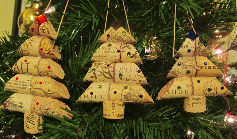 wine cork christmas tree ornament trio large medium by lmadeit. Black Bedroom Furniture Sets. Home Design Ideas