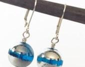 Blue Glass Bead Earrings, Blue Earrings, Glass Earring, Blue Dangle Earing, Blue and Silver Earrings, Blue Drop Earrings, Round Blue Earring