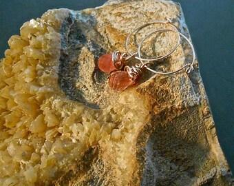 Strawberry Sunstone Hoop Earrings Tear drop Briolette Stones Sweet Delicate Gift Trending Colors