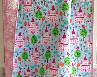 Baby Girl Quilt with Enchanted Castles Princess from Michael Miller Purple Green Blue Pink
