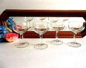 FOUR Etched sherry cordial aperitif glasses vintage, floral, Mid Century bar ware barware, elegant stemware stemmed, cut etching,