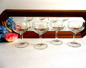 FOUR Etched sherry cordial aperitif glasses vintage, floral, Mid Century bar ware barware, elegant stemware stemmed, cut etching,