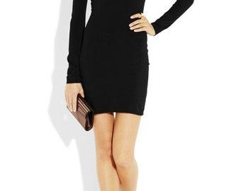 Bodicon jersey dress. Off shoulder. Long sleeves formal dress.Custom dress