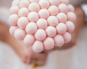 Pink Wedding Bouquet for the beautiful Bride. Pale Felt Craspedia Flowers