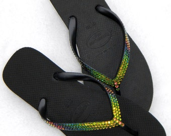 Custom Havaianas High Fashion 2.5 Wedge Heel Crystal Flip Flop w/ Swarovski Vintage Rainbow Vitrail Medium Rhonestone Jewel Black Thong Shoe