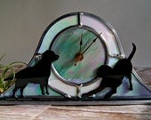 Stained Glass Clock Dog Art Quartz Clock Desk Clock Grey White Black Glass Labrador Retriever OOAK