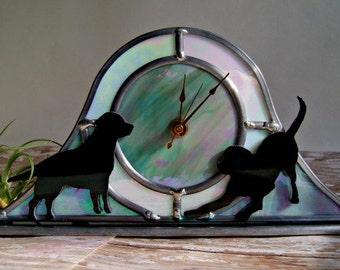 Stained Glass Clock Dog Art Quartz Clock Desk Clock Grey White Black Glass Labrador Retriever OOAK