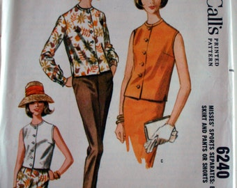 "Vintage 1962 McCall's 6240 Sports Separates: Blouse, Skirt & Pants or Shorts Sewing Pattern Size 12 Bust 32"" UNCUT"