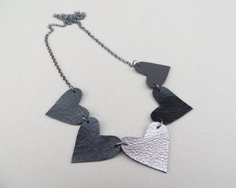 Heart Necklace Handmade Using Recycled Leather