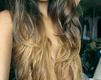 18' Full Set of Ombre Clip in Extensions. 100% Human Hair, Double Wefted, Dark Brown fade to Blonde.