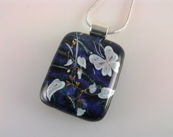 Dichroic Butterfly Pendant, Fused Glass Jewelry, Butterfly Tropical Flower Necklace