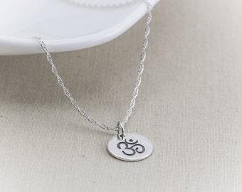 Om Necklace, Ohm Necklace, Sterling Silver Necklace, Yoga Necklace, Om Ohm Charm Pendant, Yoga Zen Jewelry, Sanskrit,