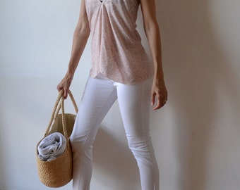 Peach light pink and white womens halter bias cut tank top singlet camisole. One size fits many.