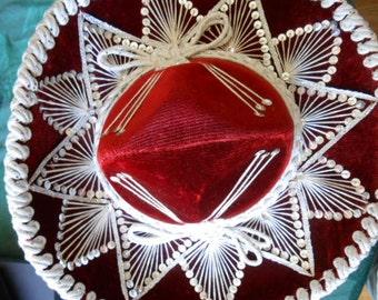 Childs Fancy Red Velvet Sombrero