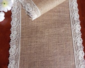 Burlap table runner wedding table runner with ivory lace rustic table decor