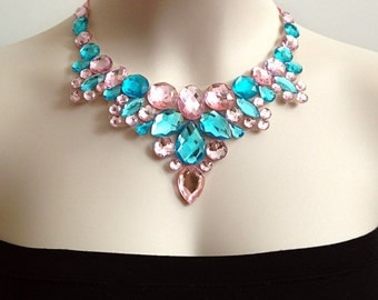 pink and aquamarine rhinestone bib tulle necklace, wedding, bridesmaids, prom, party necklace