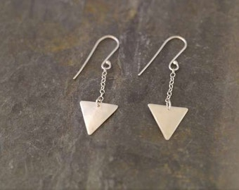Silver Triangle drop Earrings    PMC Fine Silver Clay Jewelry   Handmade Recycled Silver Earrings