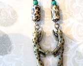 Jaguar Earrings Jungle rain forest  Cat by Bridget Blue
