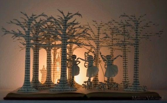 Three Fairies - Book Sculpture - Book Art - Altered Book