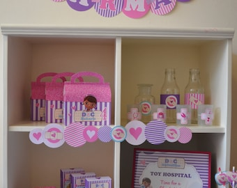 Doc McStuffins party decorations package - PERSONALIZED Doctor & Nurses party PDF printable deluxe birthday party kit
