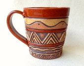 Hand Built & Carved Stoneware Mug - Sienna, Brown, Tan - Rustic, Leathery, Woodsy - Coffee or Tea Cup - Aztec Triangle - Textured - Unique
