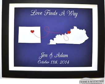 Love finds a way quote personalized gift ideas, long distance relationship, any 2 map states wall art print, custom fiance gift idea