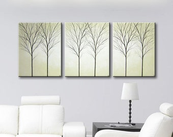"""Tree Paintings of Trees Wall Decor Painting Wall Art Canvas Art Home Decor Wall Hangings Modern Tan Beige Art 48""""x20"""" Original Painting"""