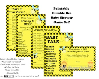 Bee Baby Shower Game, Mommy to Bee Baby Shower Game, Bumble Bee Baby Shower, Bee Theme Shower, Mommy to Bee Theme Baby Shower Game Pack