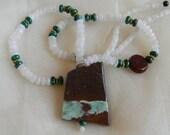 Moonstone beads w malachite necklace w chrysoprase pendant w beaded jewelry , chrysoprase chakra gemstone , moonstone w malachite necklace