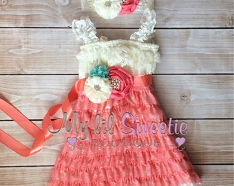 New Light aqua ivory coral dress, sash , 3pc set , headband, Lace dress, baby girl outfit, special occasion dress, toddler dress