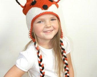 Fox hat, Animal Hat, Baby Fox Hat, Fox Costume, Fox Beanie, Winter Hat, Orange Fox, Adult Fox Hat, Toddler Fox Hat, Knit Kids Hat, Knit Fox