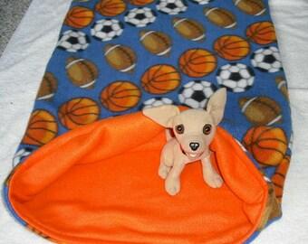 "Small Dog Fleece Dog Bed —Football, Basketball, Soccer — Mini Dachshund Chihuahua Fleece Snuggle Sack, Burrow Bed 20x28"""