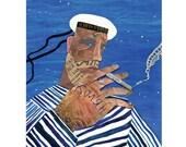 Sailor art, Navy, Sailor home decor, Nautical, Sea art, Wall art, Sailor print, Nautical Home decor, For him, Ocean Wall Decor, Sailor art
