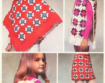 70s SIMPLICITY 9742 Step By Step Crochet Fashions Pattern  Granny Squares Poncho, Skirt, Hat, Scarf, Bag Pattern Instructions ONE SIZE